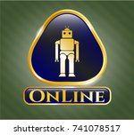 gold badge with robot icon and ... | Shutterstock .eps vector #741078517