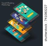 flat design responsive ui... | Shutterstock .eps vector #741083227