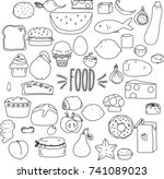 food hand drawn outline | Shutterstock .eps vector #741089023