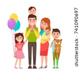 happy extended family icon... | Shutterstock .eps vector #741090697