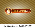 gold emblem or badge with drop ... | Shutterstock .eps vector #741090937