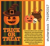 halloween pumpkins  witch hat ... | Shutterstock .eps vector #741092317
