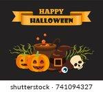 happy halloween title written... | Shutterstock .eps vector #741094327