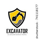 shield excavator logo template...