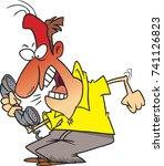 cartoon irate man screaming... | Shutterstock .eps vector #741126823