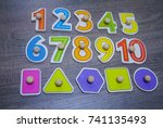 colorful wooden numbers and... | Shutterstock . vector #741135493