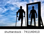 silhouette of a man with an... | Shutterstock . vector #741140413
