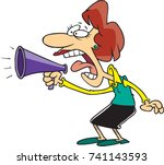cartoon woman yelling into a...