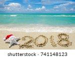 2018 year beach background near ... | Shutterstock . vector #741148123