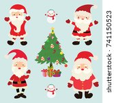 cute santa claus set. vector | Shutterstock .eps vector #741150523
