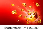 chinese gold sycee   yuanbao  ... | Shutterstock . vector #741153307