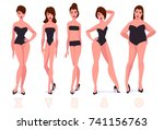 set of female body shape types  ... | Shutterstock .eps vector #741156763