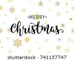 christmas gold glittering... | Shutterstock .eps vector #741157747