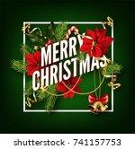 christmas background or... | Shutterstock .eps vector #741157753