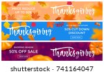 thanksgiving sale or autumn... | Shutterstock .eps vector #741164047