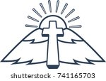 cross and landscape that looks... | Shutterstock .eps vector #741165703