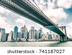 brooklyn bridge as seen from... | Shutterstock . vector #741187027