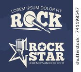 rock star music labels on... | Shutterstock .eps vector #741198547