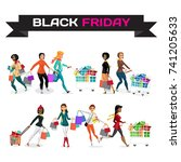 set of young women shopping on... | Shutterstock .eps vector #741205633