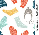 winter vector seamless pattern... | Shutterstock .eps vector #741207823