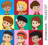 set of kids avatars  cute...