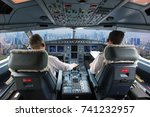 aircraft flight deck. the... | Shutterstock . vector #741232957