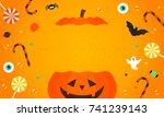 happy halloween background... | Shutterstock .eps vector #741239143