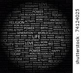 life. word collage on black... | Shutterstock .eps vector #74124025