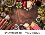spanish tapas copy space... | Shutterstock . vector #741248023