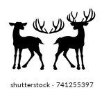 male deer and female deer icon...   Shutterstock .eps vector #741255397