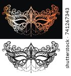 beautiful lace masquerade mask  | Shutterstock .eps vector #741267343