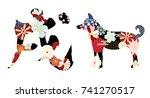 japanese pattern dog character... | Shutterstock .eps vector #741270517