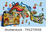 funky colorful boom box  notes... | Shutterstock .eps vector #741273433