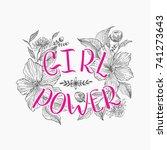 motivating words for women ... | Shutterstock .eps vector #741273643