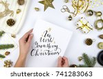 christmas and new year gifts ...   Shutterstock . vector #741283063