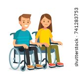 young couple with wheelchairs | Shutterstock .eps vector #741283753