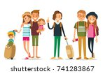 set of young people traveling   Shutterstock .eps vector #741283867