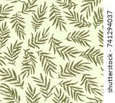 seamless palm branch pattern... | Shutterstock .eps vector #741294037