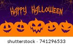 hallowen   banner with funny...   Shutterstock .eps vector #741296533