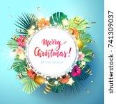 christmas on the summer beach... | Shutterstock .eps vector #741309037