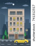 vector hotel building and taxi... | Shutterstock .eps vector #741312517