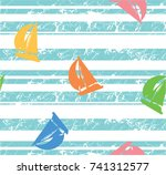 seamless pattern of a sailboat... | Shutterstock .eps vector #741312577