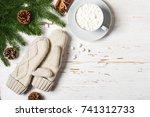 cozy winter background. cup of... | Shutterstock . vector #741312733