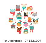 Stock vector collection of christmas cats merry christmas illustrations of cute cats with accessories like a 741321007