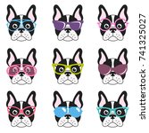 set of french bulldogs with... | Shutterstock .eps vector #741325027