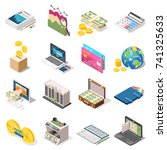 accounting set of isometric... | Shutterstock .eps vector #741325633