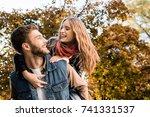 portrait of happy couple in... | Shutterstock . vector #741331537