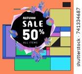 autumn sale memphis style web... | Shutterstock .eps vector #741334687