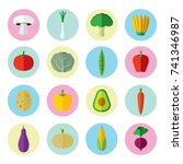 vegetables healthy color icons | Shutterstock .eps vector #741346987