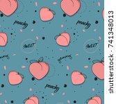 vector peach pattern. cool food ...   Shutterstock .eps vector #741348013
